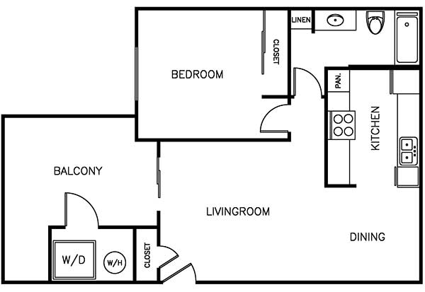 Waterstone Alta Loma Apartments 1 bedroom 1 bath floor plan
