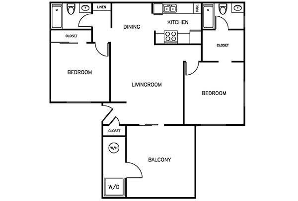 Waterstone Alta Loma Apartments 2 bedroom 2 bath floor plan