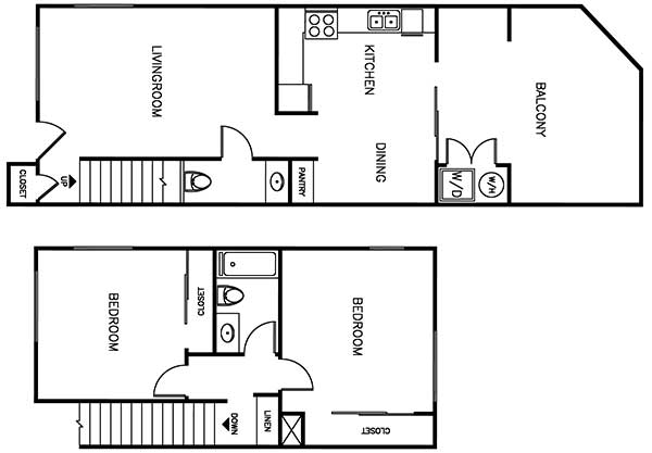 Waterstone Alta Loma Apartments 2 bedroom 2 bath townhome floor plan