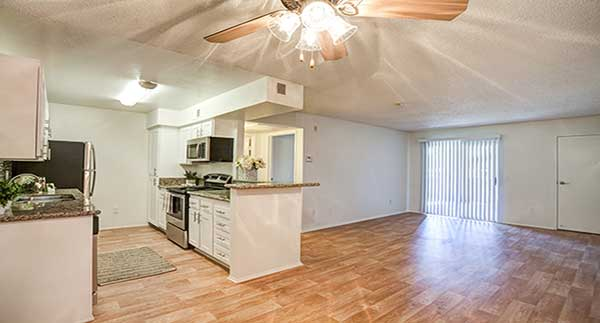 Waterstone Alta Loma Apartment Interior of kitchen and living room